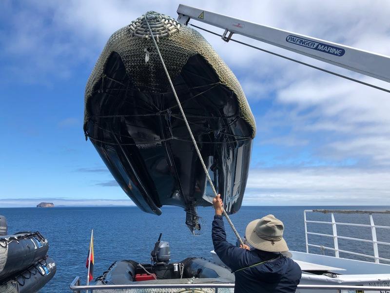Loading a Zodiac onto the ship